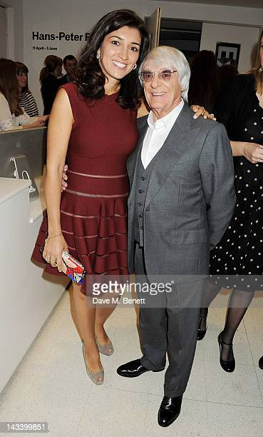 Fabiana Flosi and Bernie Ecclestone attends a party celebrating the launch of Sweet Revenge The Intimate Life of Simon Cowelll by Tom Bower at The...