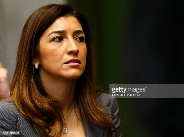 Fabiana Flosi wife of Formula One chief executive Bernie Ecclestone at the courthouse in Munich on August 5 2014 / AFP / POOL / MICHAEL DALDER