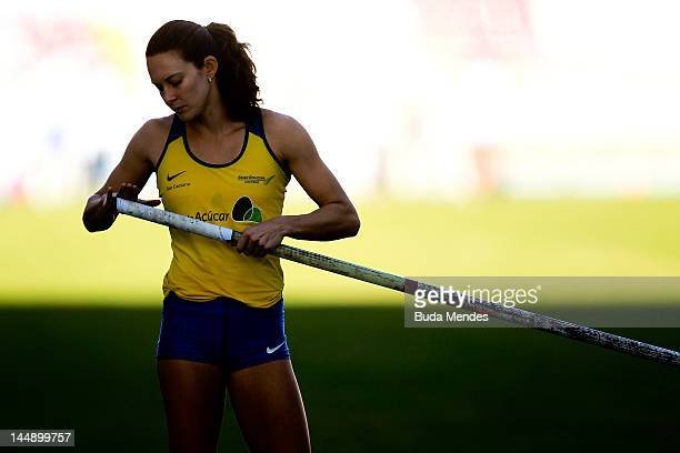 Fabiana Murer of Brazil prepares to compete in Pole Vault at the GP Brazil Caixa 2012 at Engenhao stadium on May 20, 2012 in Rio de Janeiro, Brazil.