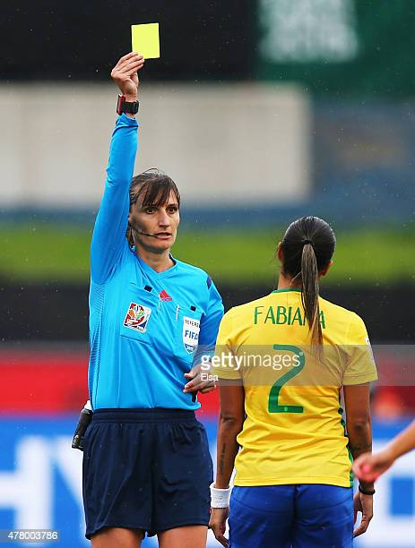 Fabiana of Brazil is shown a yellow card by referee Teodora Albon during the FIFA Women's World Cup 2015 round of 16 match between Brazil and...
