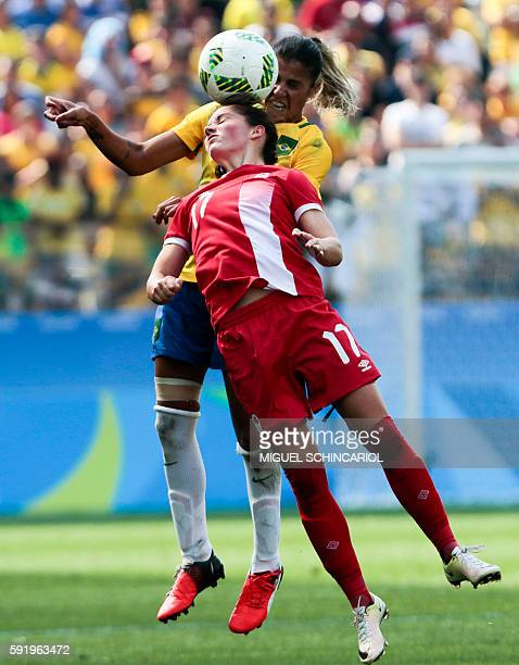 Fabiana of Brazil vies for the ball with Jessie Fleming of Canada during their Rio 2016 Olympic Games women's bronze medal football match Brazil vs...