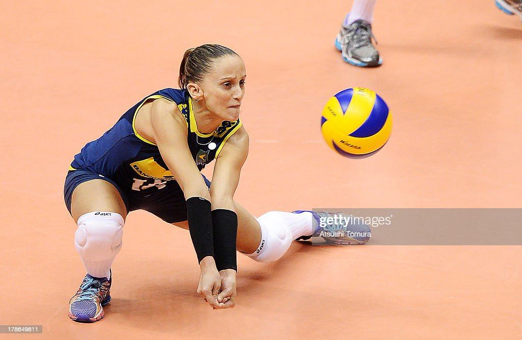 Fabiana Oliveira of Brazil in action during day three of the FIVB World Grand Prix Sapporo 2013 match between Brazil and Italy at Hokkaido Prefectural Sports Center on August 30, 2013 in Sapporo, Hokkaido, Japan.
