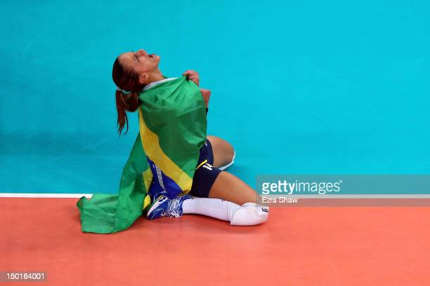 Fabiana Oliveira of Brazil reacts after defeating the United States to win the Women's Volleyball gold medal match on Day 15 of the London 2012...