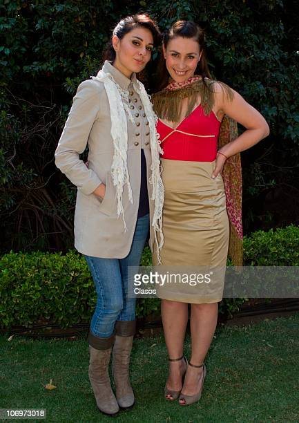 Fabiana Perzabal and Paty Garza pose for a photograph during the recordings of the second season of Bienes Raices on November 9 2010 in Mexico City...