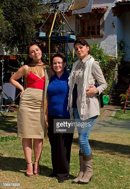 Fabiana Perzabal Paty Garza and Adriana Barraza pose for a photograph during the recordings of the second season of Bienes Raices on November 9 2010...