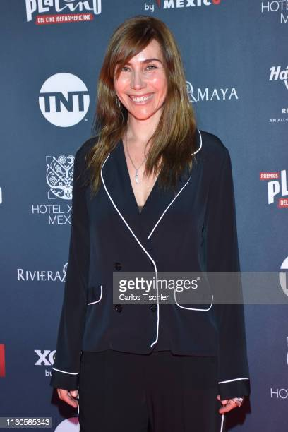 Fabiana Perzabal poses for photos during the red carpet for the shortlist presentation of the Premios Platino at Cineteca Nacional on February 18...