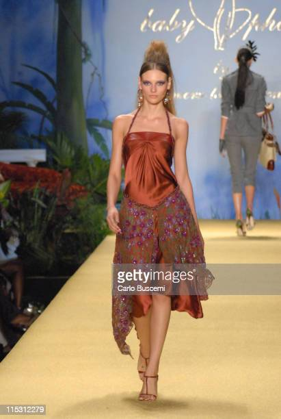Fabiana Semprebom wearing Baby Phat Spring 2007 during Olympus Fashion Week Spring 2007 Baby Phat Runway at The Tent Bryant Park in New York City New...