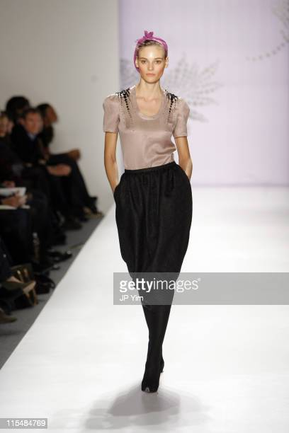Fabiana Semprebom wearing Michon Schur Fall 2007 during MercedesBenz Fashion Week Fall 2007 Michon Schur Runway at The Salon Bryant Park in New York...