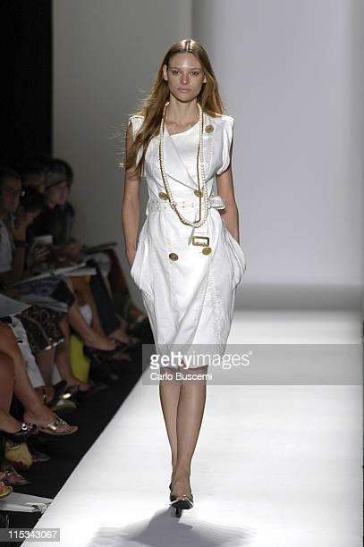 Fabiana Semprebom wearing Y Kei Spring 2006 during Olympus Fashion Week Spring 2006 Y Kei Runway at Bryant Park in New York City New York United...