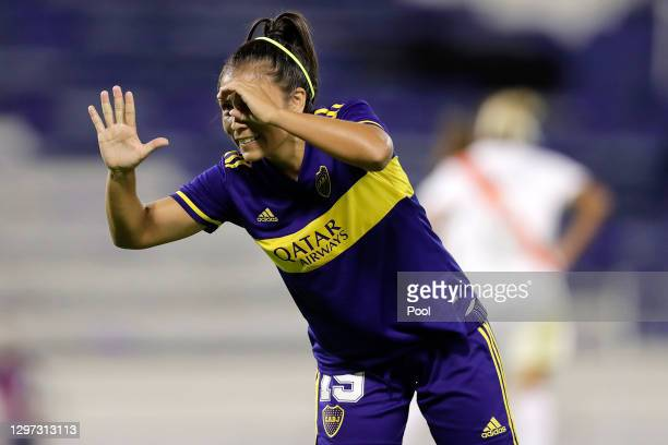 Fabiana Vallejos of Boca Juniors celebrates after scoring the seventh goal of his team during the final match between Boca Juniors and River Plate as...