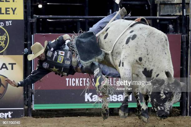Fabiano Vieria is bucked off Loan Shark during day 1 of the Monster Energy Buck Off at the Garden at Madison Square Garden on January 5 2018 in New...