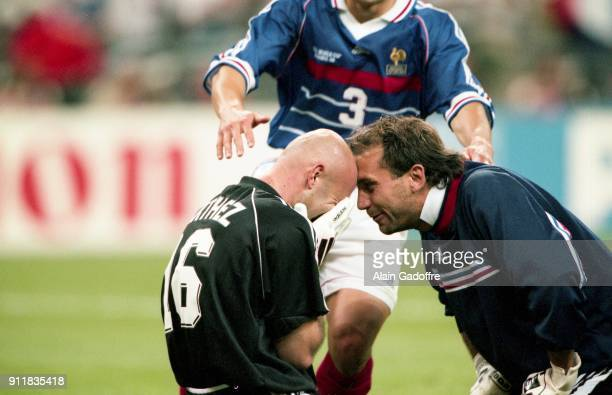 Fabien Barthez and Lionel Charbonnier of France celebrate during the Soccer World Cup Final between Brazil and France on July 12 1998 in Paris Saint...