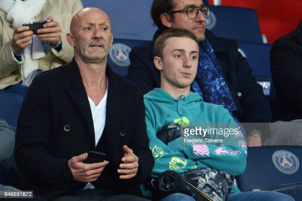 Fabien Barthez former goalkeeper of France team ad his son during the Ligue 1 match between Paris Saint Germain and AS Monaco at Parc des Princes on...