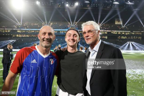 Fabien Barthez of France and his son pose with Aime Jacquet after the Friendly match between France 98 and FIFA 98 at U Arena on June 12 2018 in...
