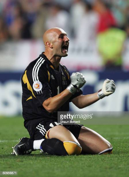 Fabien Barthez of France celebrates victory over England in the Group B match in the 2004 UEFA European Football Championships at the Estadio da Luz...