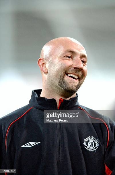 Fabien Barthez training the night before the UEFA Champions League match between Bayern Munich v Manchester United match at the Olympiastadion Munich...