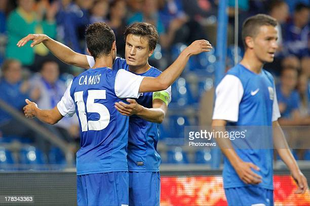 Fabien Camus of KRC Genk celebrates his second goal with Jelle Vossen of KRC Genk during the second leg playoff UEFA Europa League match between KRC...