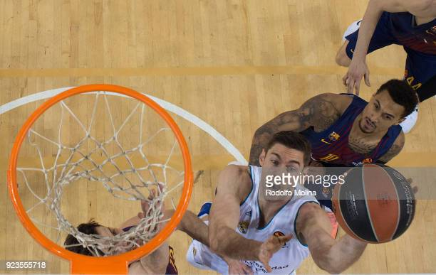 Fabien Causeur #1 of Real Madrid in action during the 2017/2018 Turkish Airlines EuroLeague Regular Season game between FC Barcelona Lassa and Real...