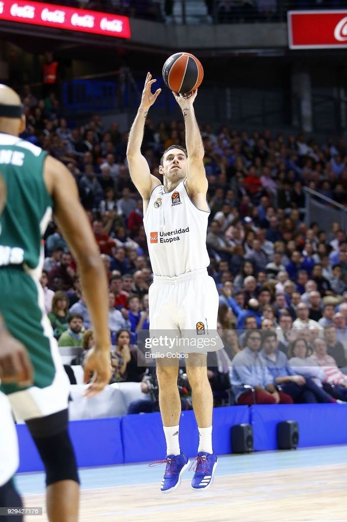 Fabien Causeur, #1 of Real Madrid in action during the 2017/2018 Turkish Airlines EuroLeague Regular Season Round 25 game between Real Madrid and Panathinaikos Superfoods Athens at Wizink Arena on March 8, 2018 in Madrid, Spain.