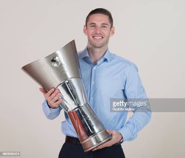 Fabien Causeur #1 of Real Madrid poses during the 2018 Turkish Airlines EuroLeague F4 Champion Photo Session with Trophy at Stark Arena on May 20...