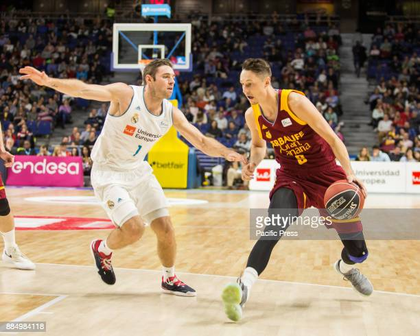 Fabien Causeur and Marcus Eriksson during Real Madrid victory over Herbalife Gran Canaria in Liga Endesa regular season game celebrated in Madrid at...