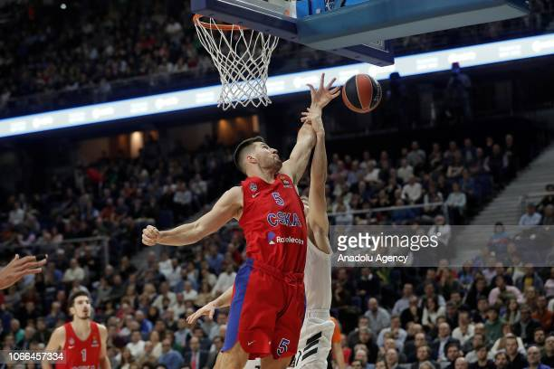 Fabien Causeur of Real Madrid in action against Alec Peters of CSKA Moscow during Turkish Airlines Euroleague week 10 basketball match between Real...