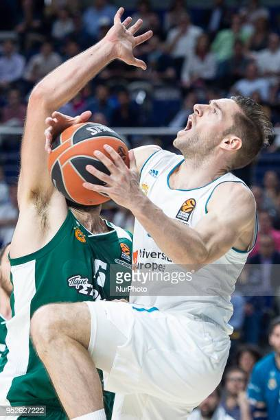 Fabien Causeur of Real Madrid in action during the Turkish Airlines Euroleague Play Offs Game 4 between Real Madrid v Panathinaikos Superfoods Athens...