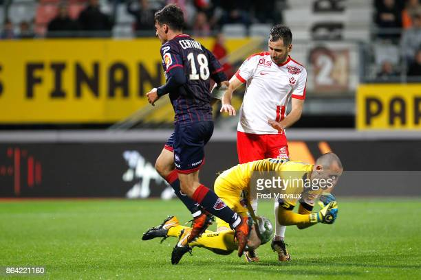 Fabien Centonze of Clermont and Antony Robic of Nancy and Paul Bernardoni of Clermont during the Ligue 2 match between Nancy and Clermont at on...