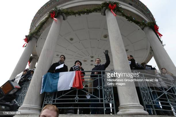 Fabien Fieschi, Council General of France in Boston addresses hundreds on Boston Common . Sunday. January 11, 2015