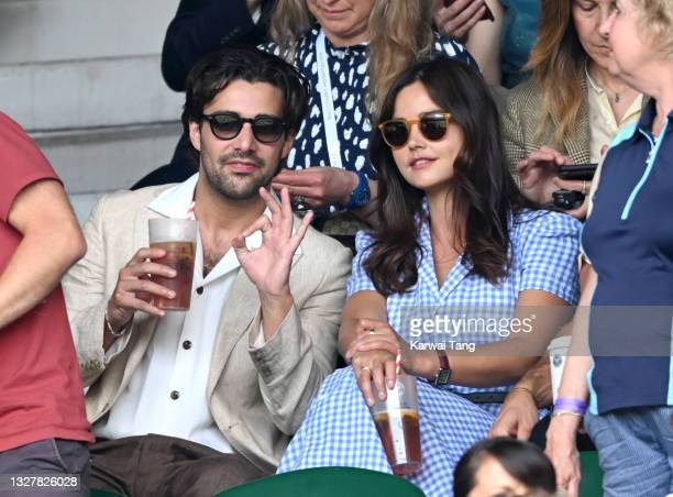 Fabien Frankel and Jenna Coleman attend day 11 of the Wimbledon Tennis Championships at the All England Lawn Tennis and Croquet Club on July 09, 2021...