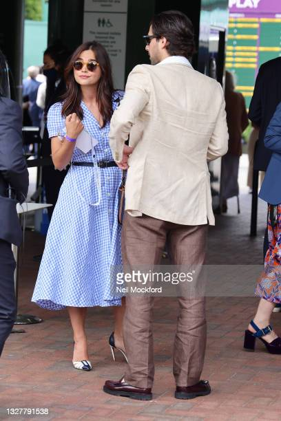 Fabien Frankel and Jenna Coleman attend Wimbledon Championships Tennis Tournament Day 11 at All England Lawn Tennis and Croquet Club on July 09, 2021...