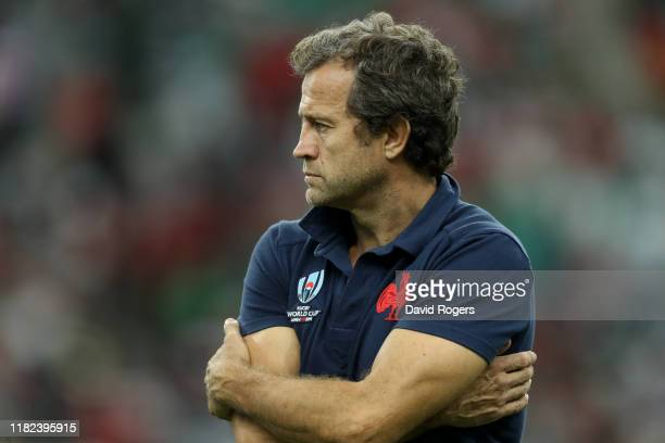 Fabien Galhie the France assistant coach looks on during the Rugby World Cup 2019 Quarter Final match between Wales and France at Oita Stadium on...