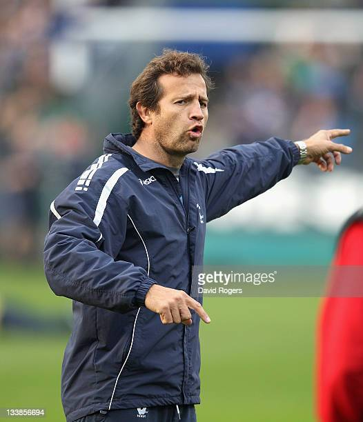 Fabien Galthie assistant coach of Montpellier looks on during the Heineken Cup match between Bath and Montpellier at the Recreation Ground on...