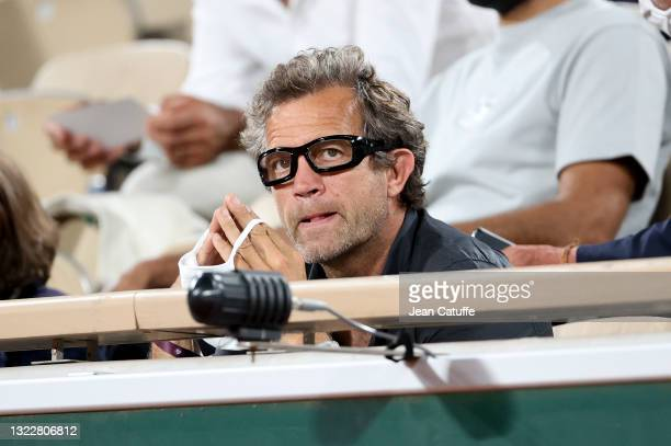 Fabien Galthie, coach of French rugby team attends the night session of day 11 of the 2021 Roland-Garros, French Open, a Grand Slam tennis tournament...