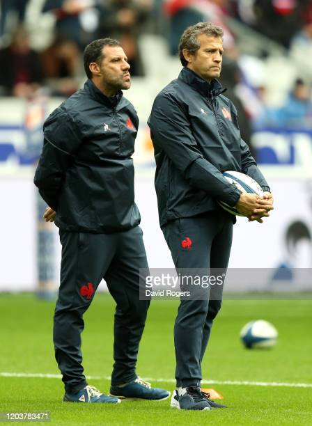 Fabien Galthie he France head coach looks on with assistant coach Laurent Labit during the 2020 Guinness Six Nations match between France and England...