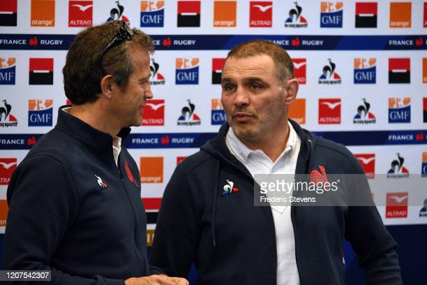 Fabien Galthie head coach and Raphael Ibanez general manager of the French rugby team announce the team for the Nat West Six Nations match against...