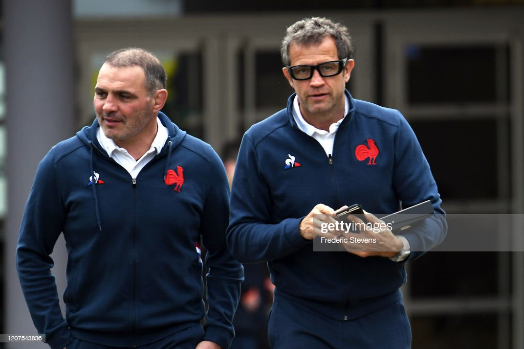 Fabien Galthie, Head Coach of France Rugby Team Gives A press Conference At Marcoussis : News Photo