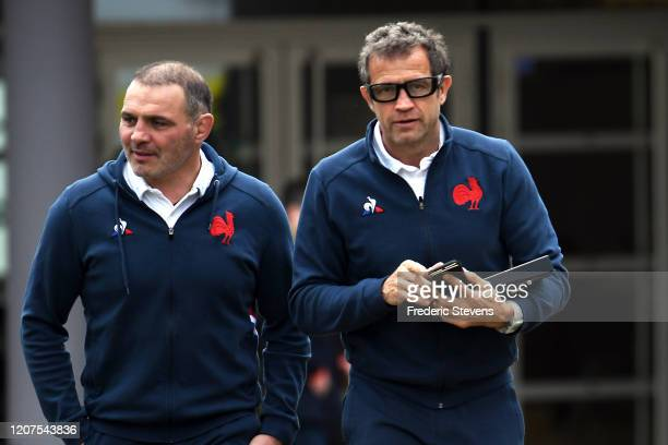 Fabien Galthie Head Coach and Raphael Ibanez General Manager of the French rugby team arrive for a press conference at the National Rugby Center on...