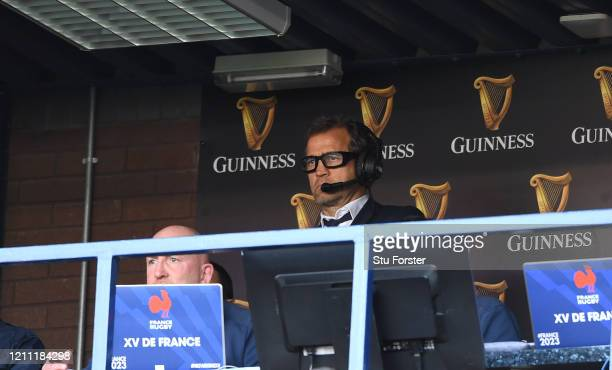 Fabien Galthie Head Coach of France and Shaun Edwards reacts during the 2020 Guinness Six Nations match between Scotland and France at Murrayfield on...