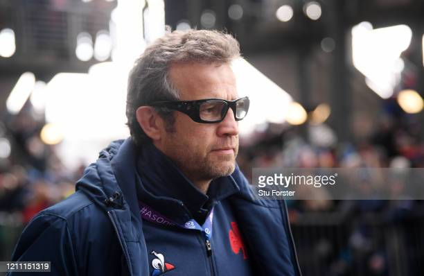 Fabien Galthie Head Coach of France arrives at the stadium prior to the 2020 Guinness Six Nations match between Scotland and France at Murrayfield on...