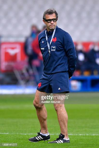 Fabien Galthie, Head Coach of France looks on during the warm up prior to the Guinness Six Nations match between France and Wales at Stade de France...