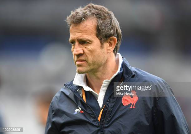 Fabien Galthie Head Coach of France looks on prior to the 2020 Guinness Six Nations match between France and Italy at Stade de France on February 09...