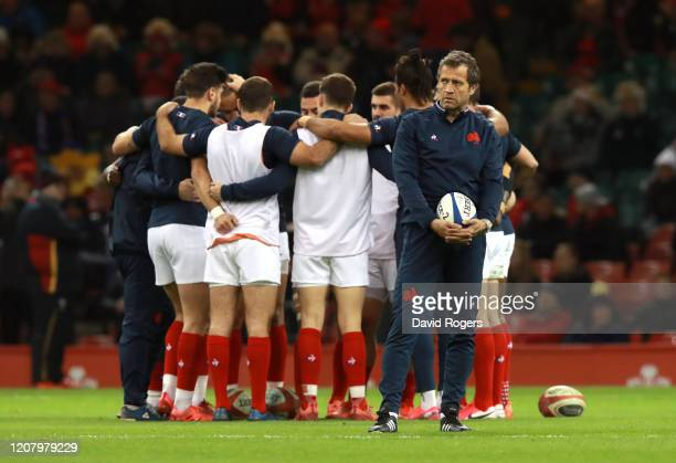 Fabien Galthie Head Coach of France looks on prior to the 2020 Guinness Six Nations match between Wales and France at Principality Stadium on...