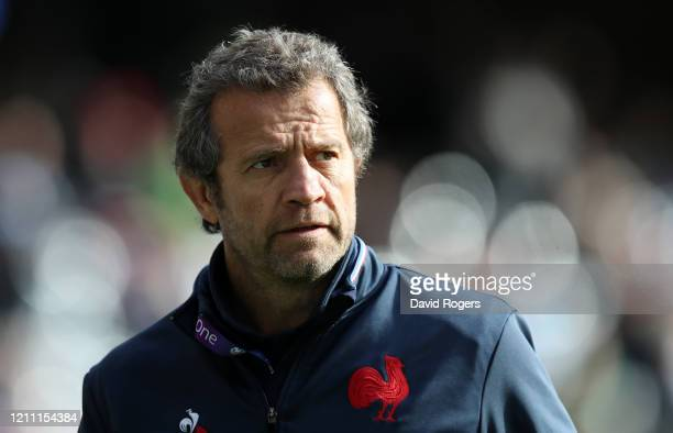 Fabien Galthie Head Coach of France looks on prior to the 2020 Guinness Six Nations match between Scotland and France at Murrayfield on March 08 2020...