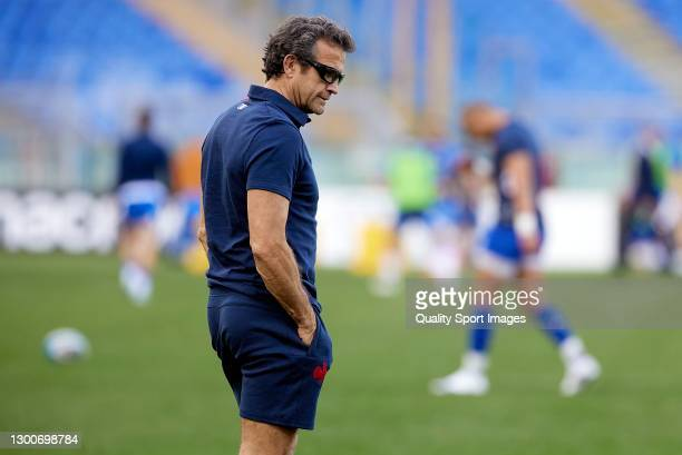 Fabien Galthie, Head Coach of France looks on prior to the Guinness Six Nations match between Italy and France at Stadio Olimpico on February 06,...