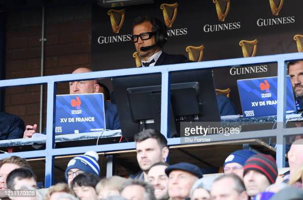 Fabien Galthie Head Coach of France reacts during the 2020 Guinness Six Nations match between Scotland and France at Murrayfield on March 08 2020 in...