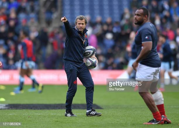 Fabien Galthie Head Coach of France reacts during the warm up during the 2020 Guinness Six Nations match between Scotland and France at Murrayfield...
