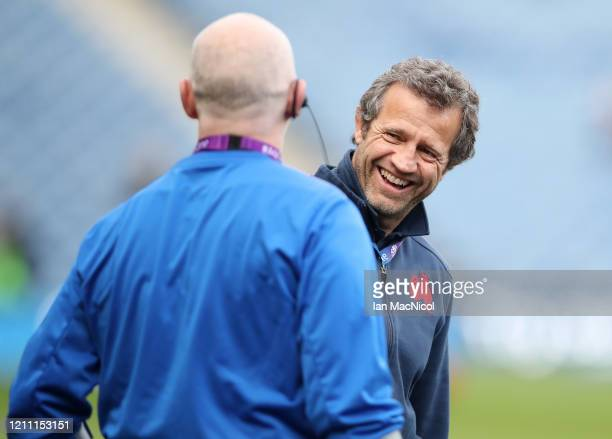 Fabien Galthie Head Coach of France reacts prior to the 2020 Guinness Six Nations match between Scotland and France at Murrayfield on March 08 2020...