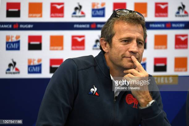 Fabien Galthie head coach of the French rugby team announces the team for the Nat West Six Nations match against Wales during a press conference at...