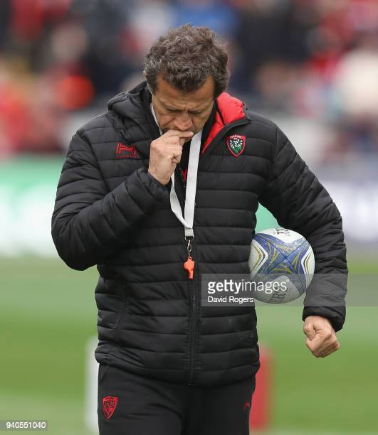 Fabien Galthie the Toulon head coach looks on during the European Rugby Champions Cup match between Munster Rugby and RC Toulon at Thomond Park on...